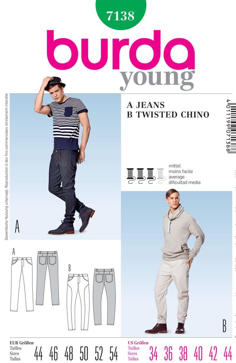 Burda 7138 Men\'s Jeans