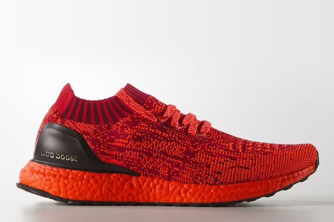 adidas have unveiled a new colorway of the Ultra Boost Uncaged low-tops featuring a red Primeknit upper, a red Boost sole, and black heel detailing.