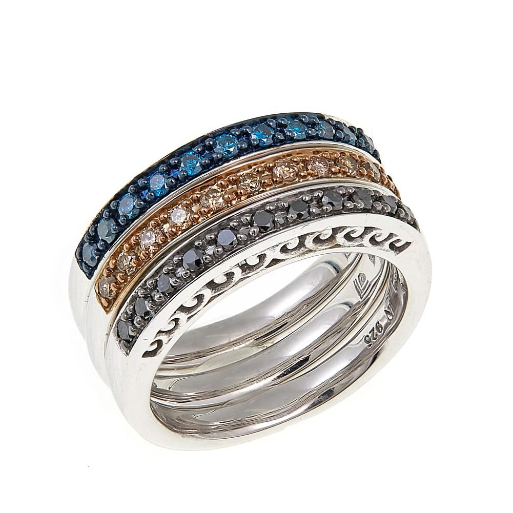 b0486581040e43 Colors Of Diamonds .49ctw Black, Blue and Champagne Diamond Sterling Silver  Band Rings - Set of 3