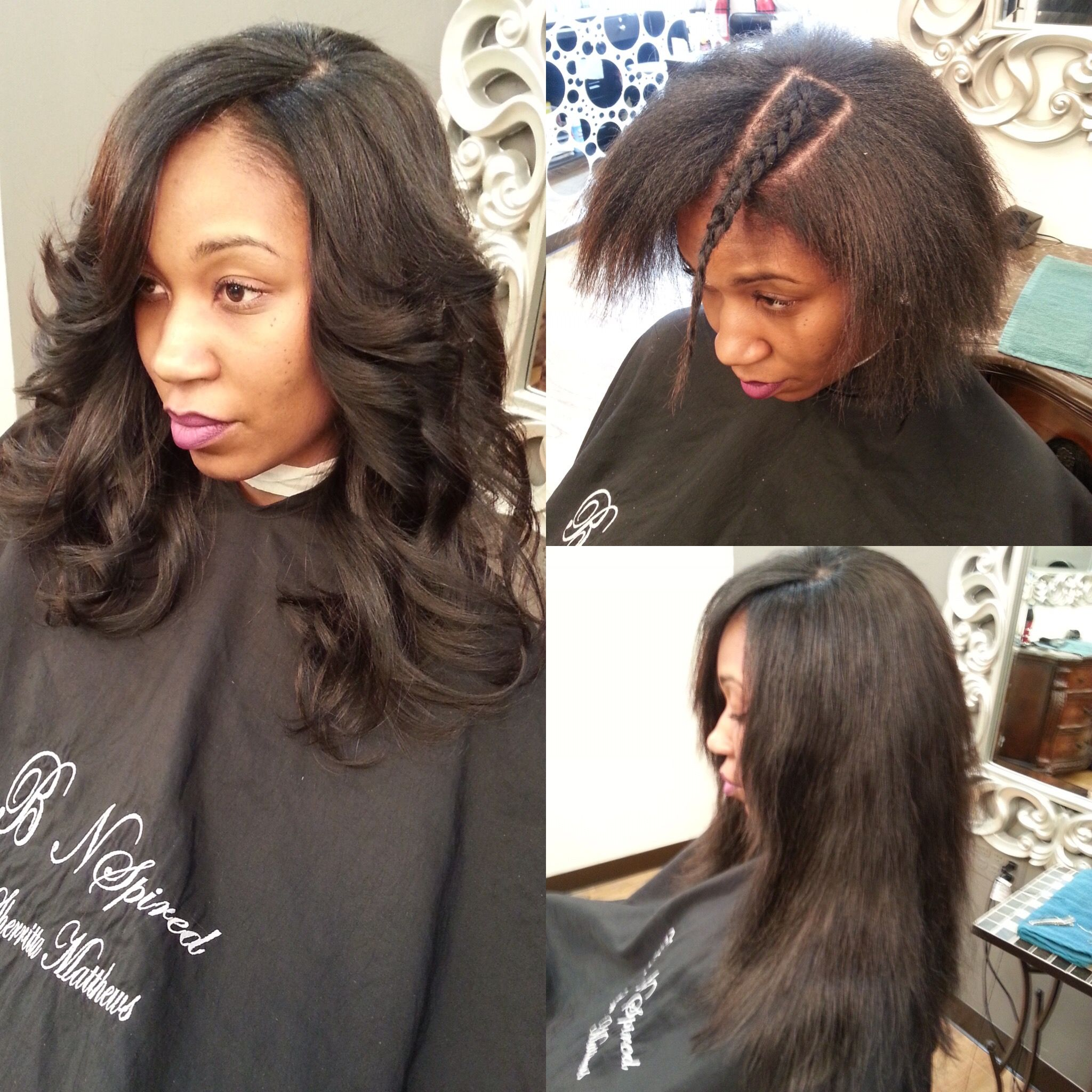 full sew in side part long layers
