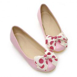 Casual Women's Flat Shoes With Wave Point Bows and Round Toe Design