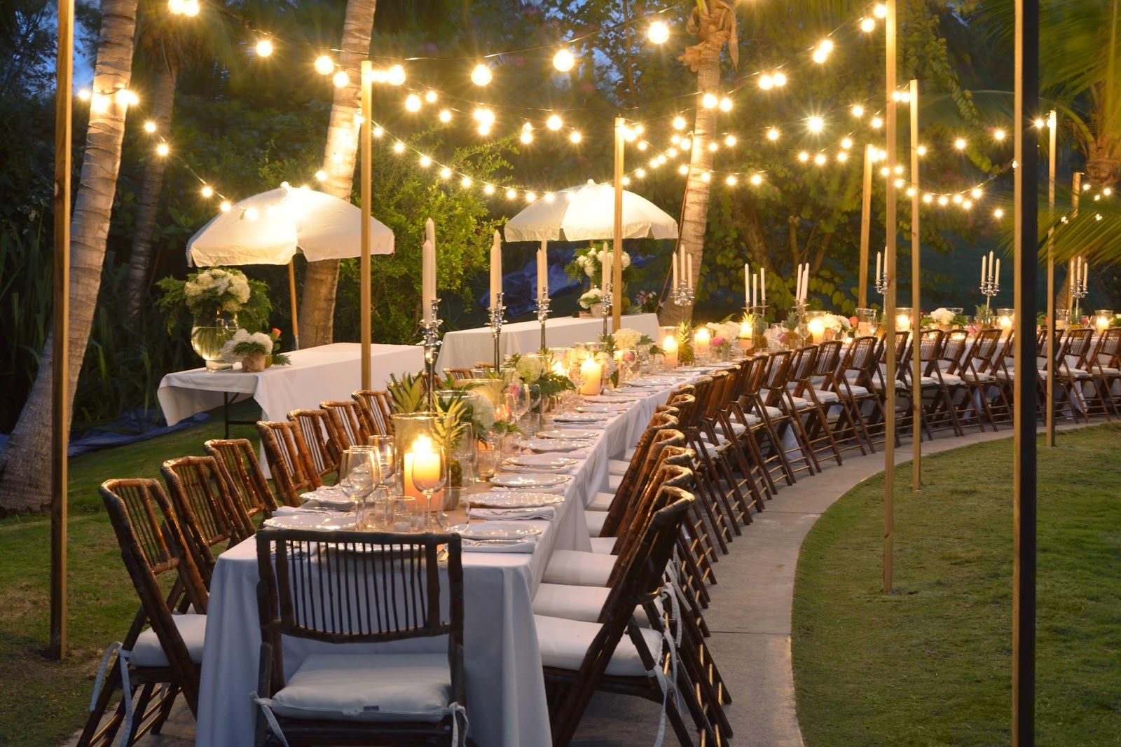 Elegant Outdoor Party Long Curved Table Tropical