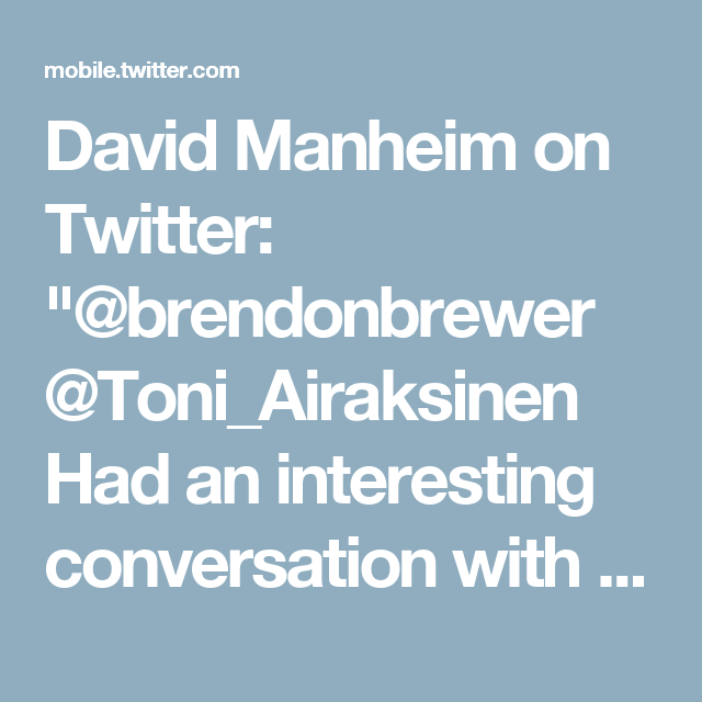 """David Manheim on Twitter: """"@brendonbrewer @Toni_Airaksinen Had an interesting conversation with some Criminal Justice researchers about this; it's very hard to measure"""""""