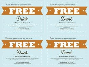 Customize Free Food Coupon Template Free drink ticket
