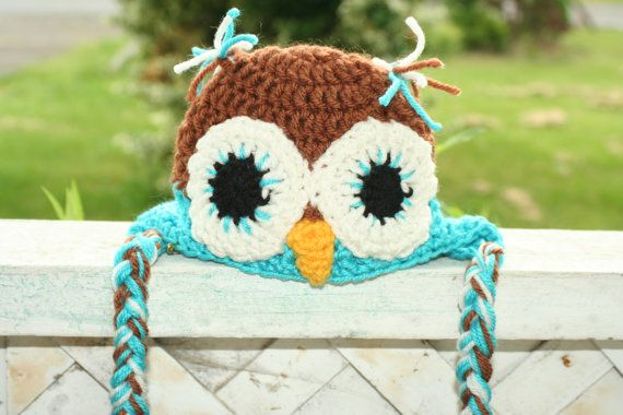 Crocheted Newborn Owl Hat Photography prop by BlissfulFiber, $12.50