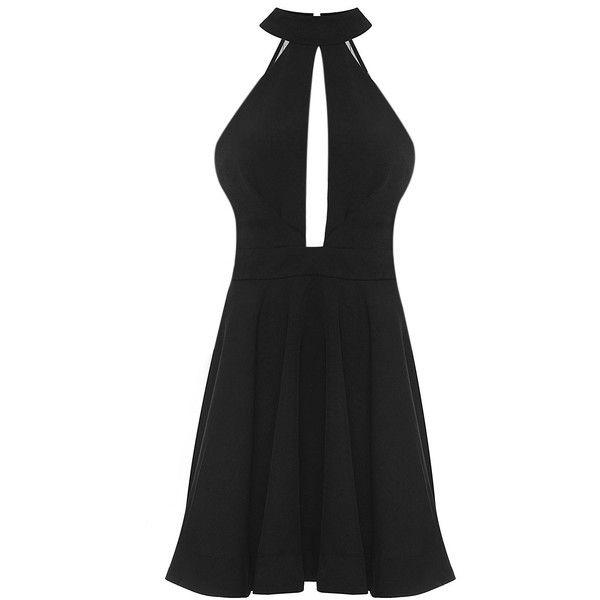 Yoins Black Halter Skater Dress (£17) ❤ liked on Polyvore featuring dresses, black, halter neck dress, halter skater dress, cut out dress, mesh panel skater dress and halter neck skater dress