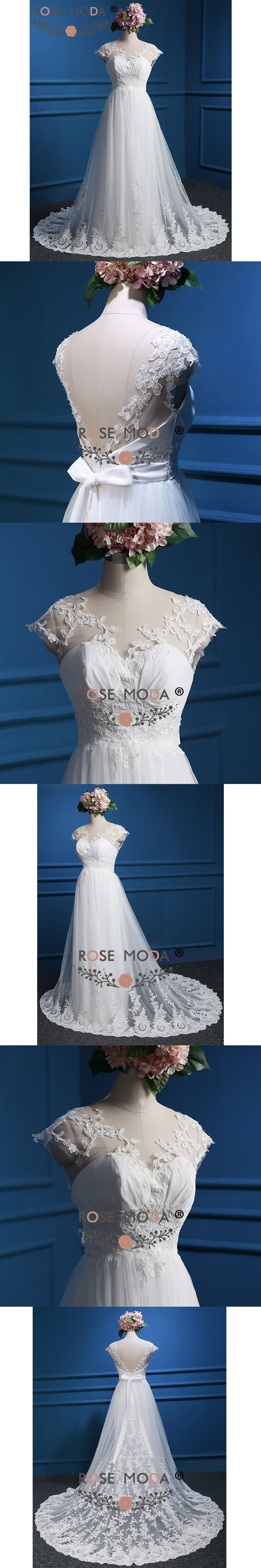 Rose moda lace wedding dress cap sleeves low v back boho wedding