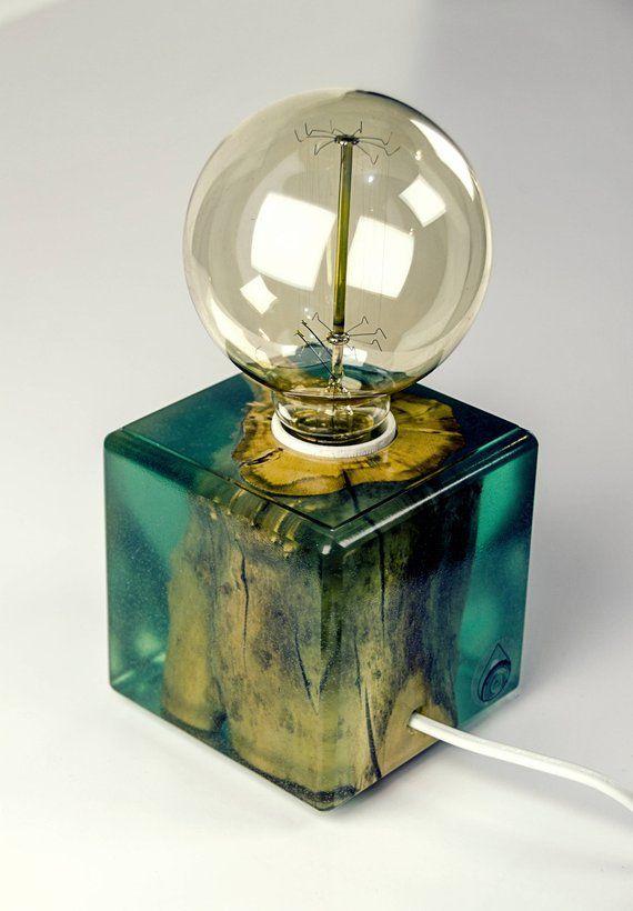 Root In Light Green Epoxy Minimal Lamp Warm Light Table