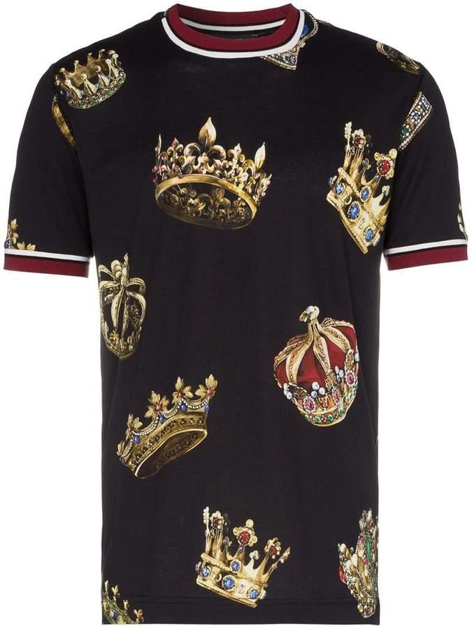Short Sleeved Crowns Print T Shirt Dolce Gabbana Man T Shirt