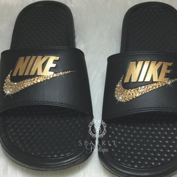 c0b1f068e174 Bling Women s Benassi JDI Nike Slides Bedazzled with GOLD Crystals All  Sizes Sparkly Nike Slides Sli