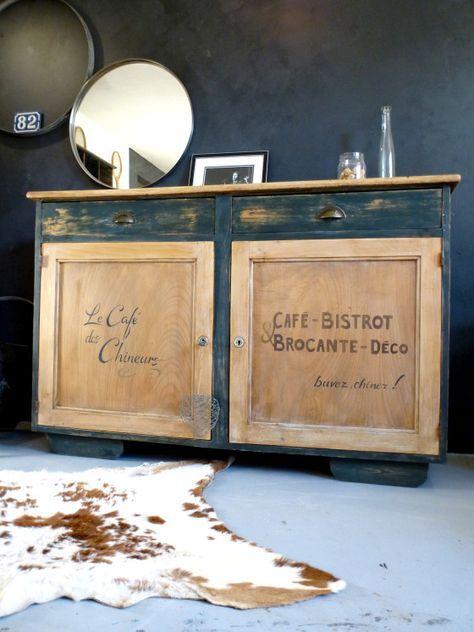 Beau buffet bahut en bois pour decoration campagne chic brocante