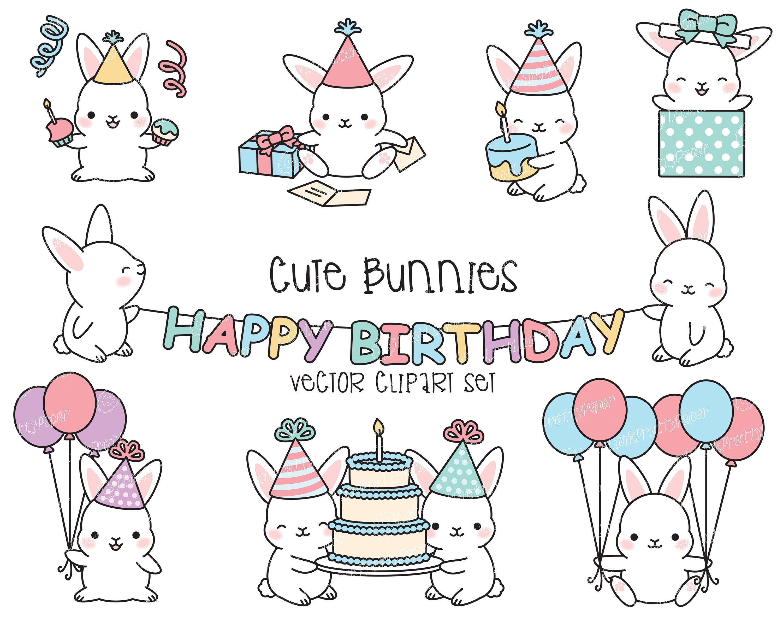 Premium Vector Clipart Kawaii Birthday Bunnies Cute Etsy Cute Doodle Art Clip Art Cute Doodles