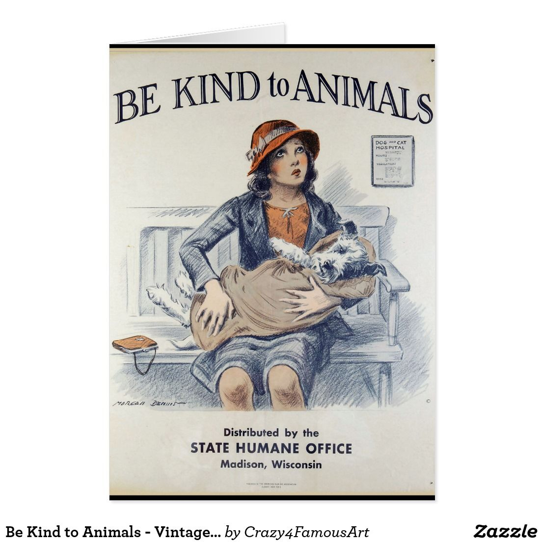 Be Kind To Animals Vintage Poster Zazzle Com Dog Poster Animal Posters Vintage Posters