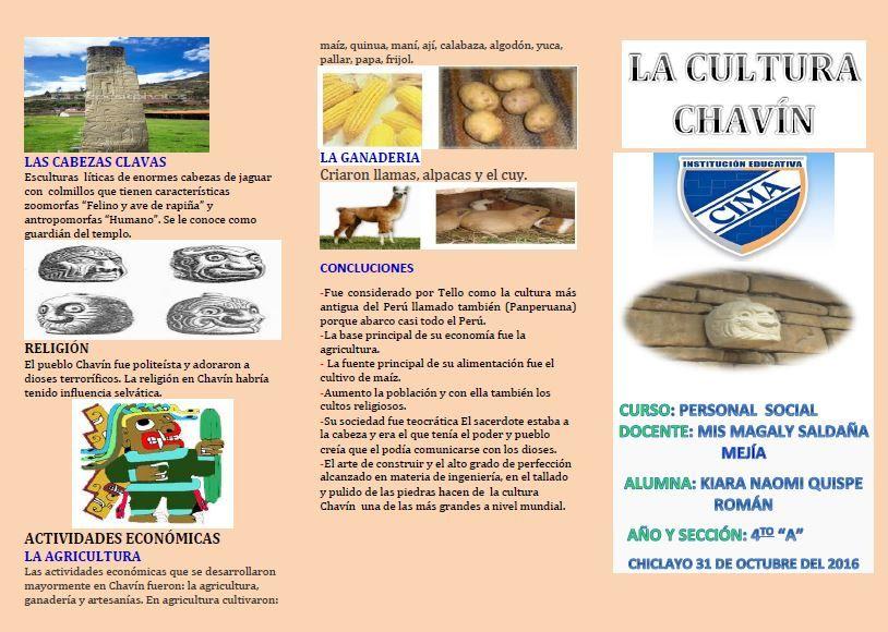TRIPTICO CULTURA CHAVIN Cultura, Libro coquito