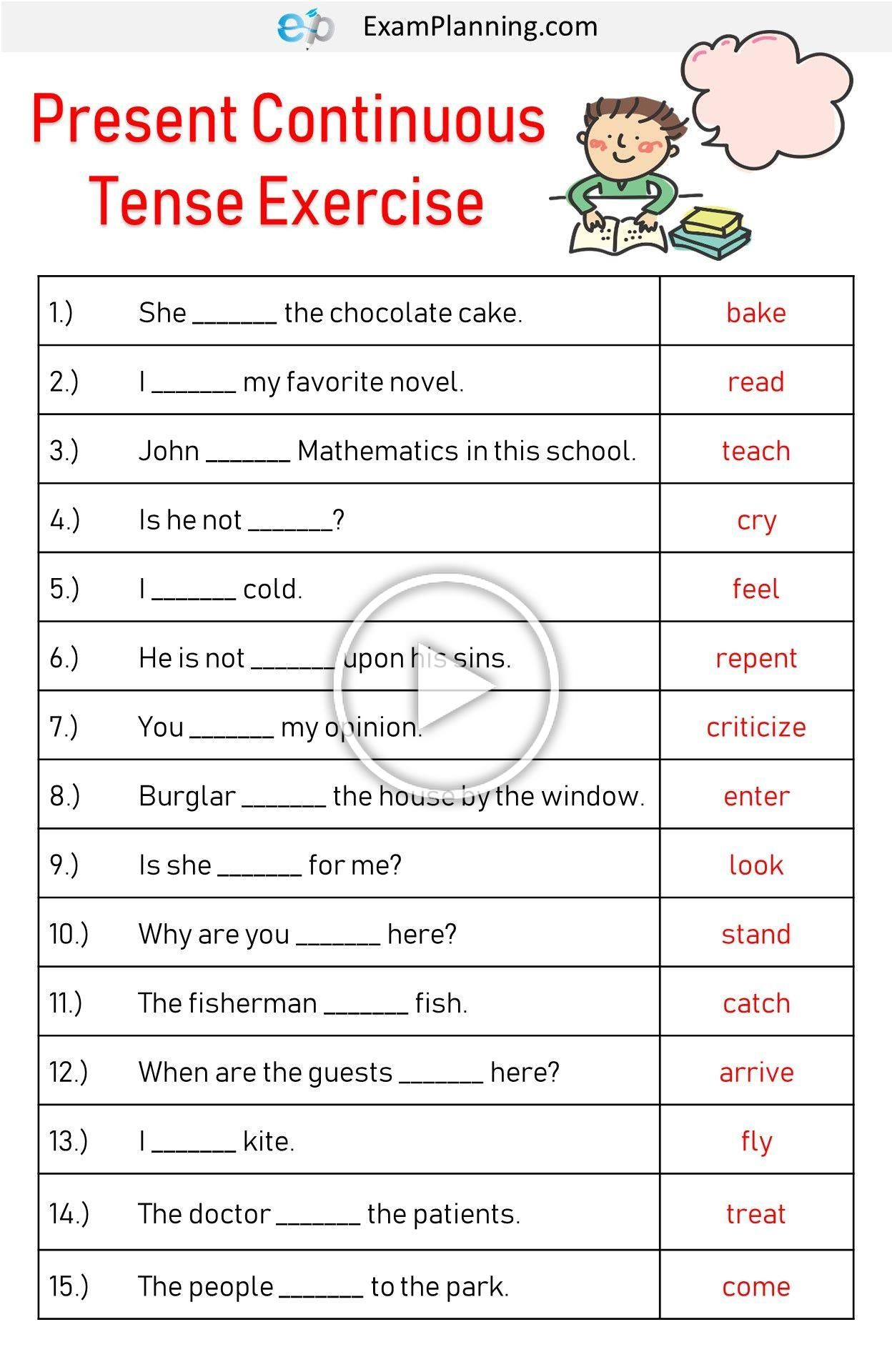 Present Continuous Tense Exercises In