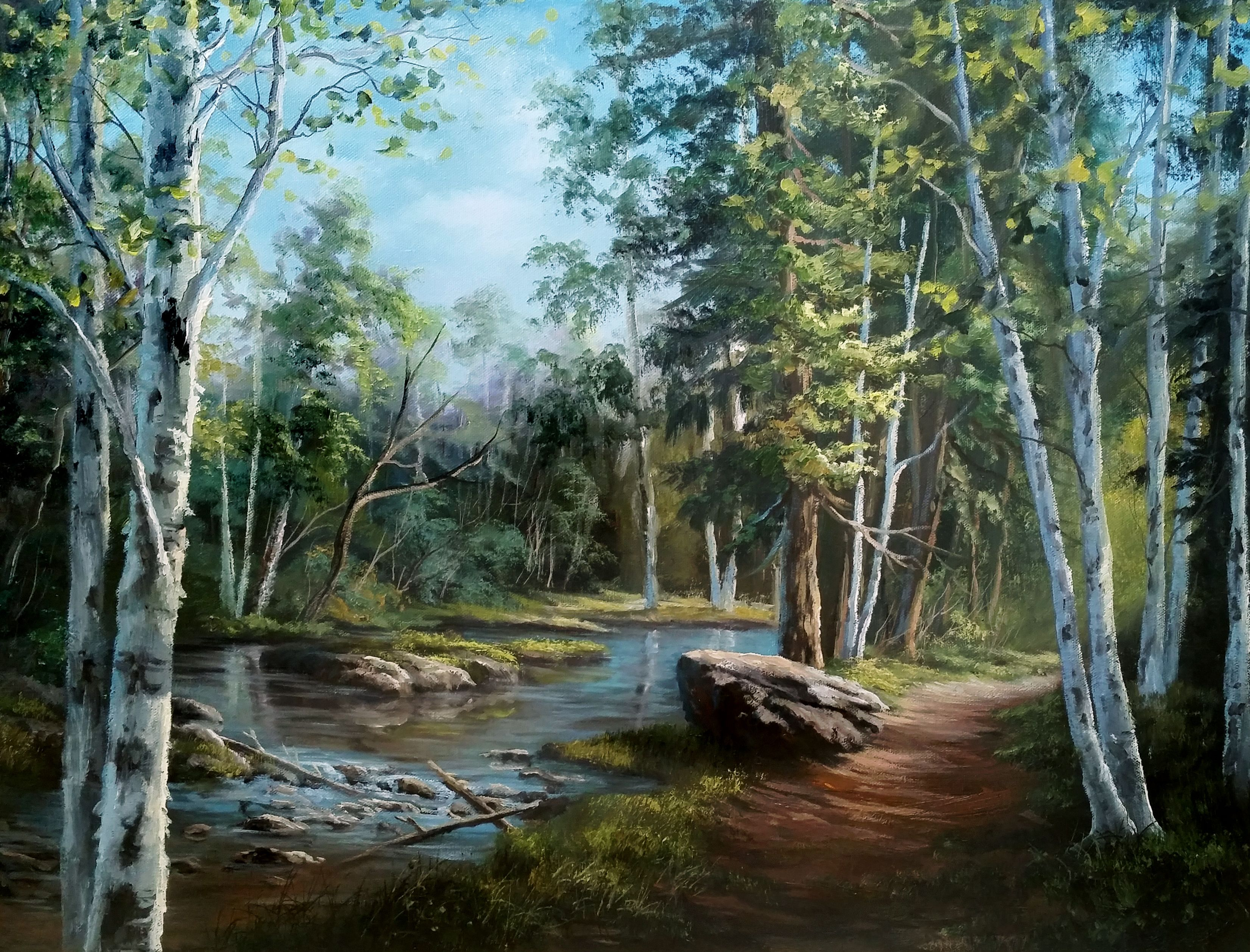 Hidden Birch Trees Oil Painting By Kevin Hill Watch Short Oil Painting Lessons On Youtube Kevinoilpaintin Kevin Hill Paintings Landscape Paintings Landscape