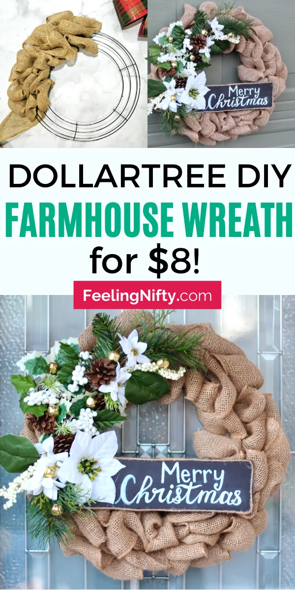 DIY Wreath for Christmas made out of Burlap and other Dollarstore /Dollar Tree finds. For $8 and super easy! Make it for even cheaper, with real pine tree clippings and branches or other greenery. This winter wreath is for front door and Christmas decor and has farmhouse /rustic style. Learn how to make with this step by step tutorial and learn how! Modern, Natural, weatherproof to the outdoor! #DIYWreath #XmasDecor #christmasDecor #DIYChristmas #ChristmasDecorations #PorchDecor #HolidayDecor