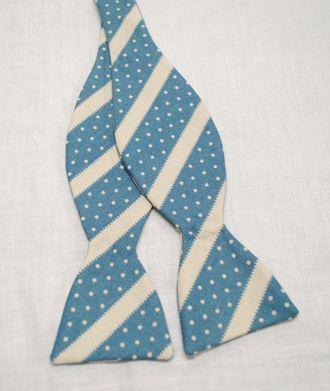 blue stripe+dot bow tie