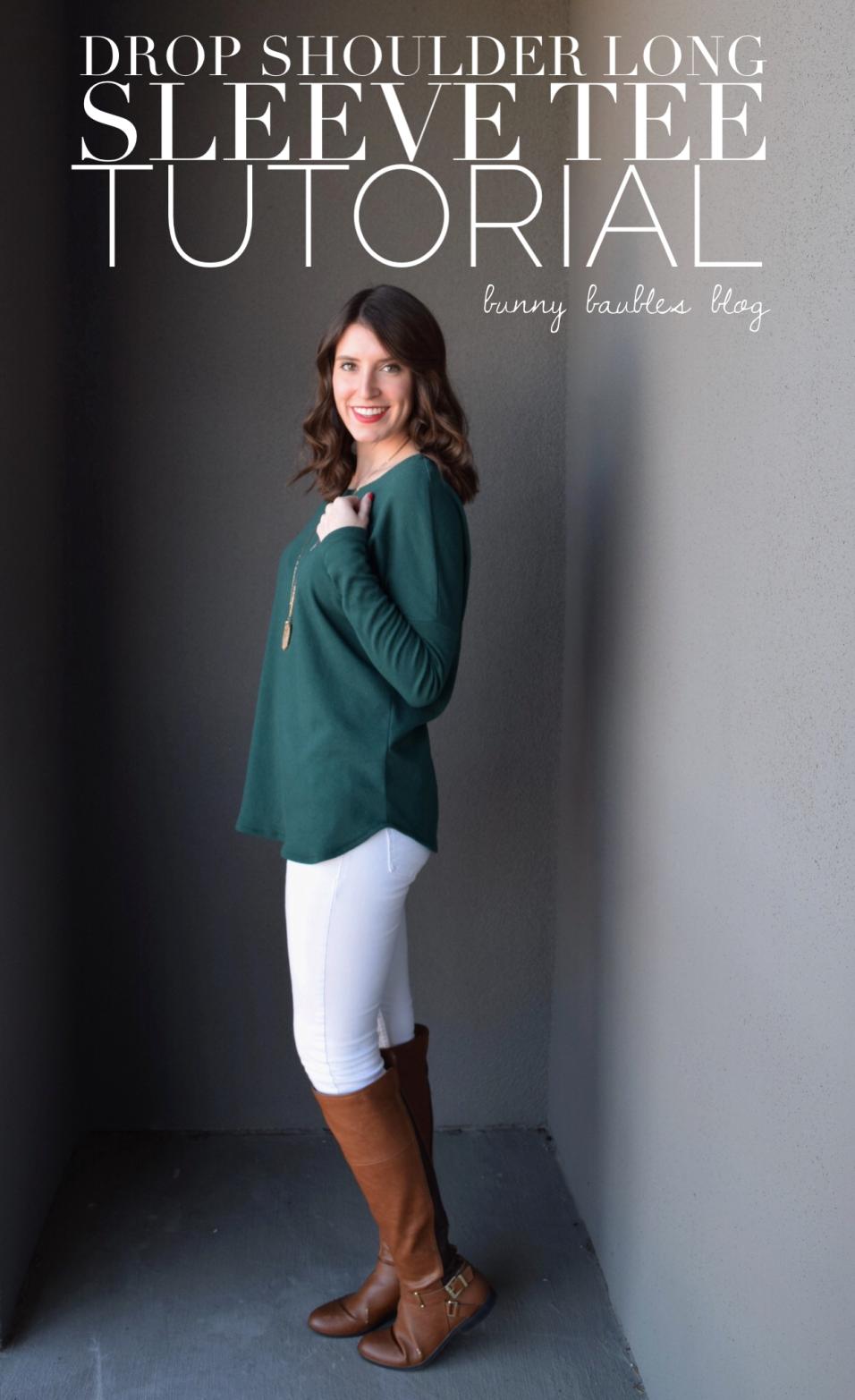 Drop Shoulder Long Sleeve Tee Tutorial by Bunny Baubles