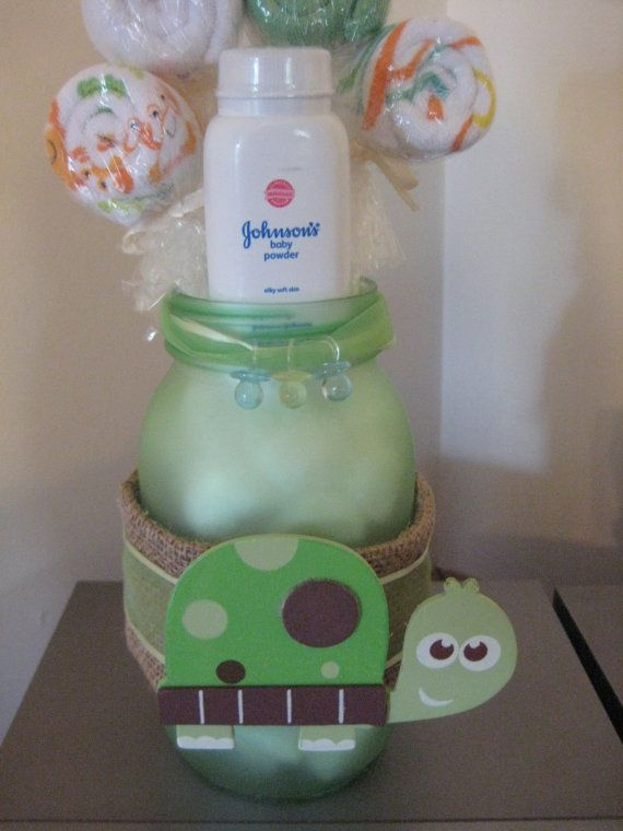 Baby Shower Turtle Mason Jar Safari Centerpiece Washcloth Lollipop Table  Decoration Gift