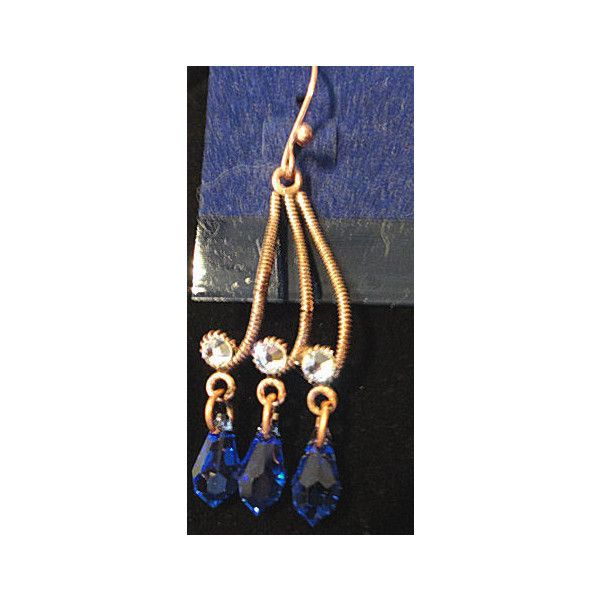 Copper and crystal dangle earrings EllieGee ($18) via Polyvore featuring jewelry, earrings, clear crystal earrings, long dangle earrings, dangle earrings, crystal stone jewelry and crystal earrings