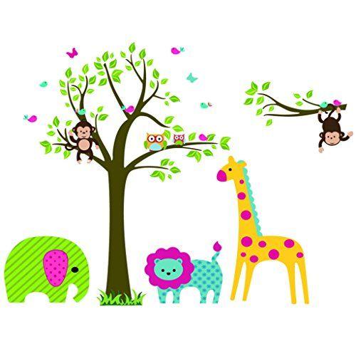 Sunnicy wandtattoo wandsticker dschungel tierewelt eule baum sunnicy wandtattoo wandsticker dschungel tierewelt eule baum giraffe lwe eulen auf baum mit giraffe und thecheapjerseys Gallery