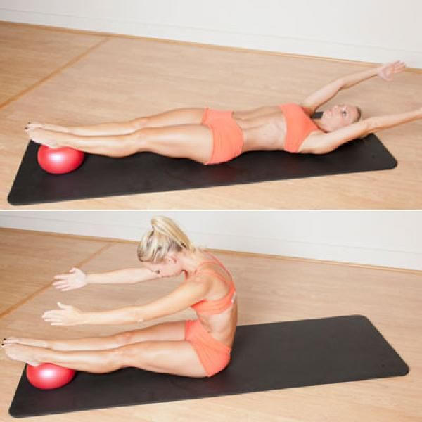 The Pilates Roll Up with Ball - Trainers Reveal: The Best Abs Exercise of All Time - Shape Magazine