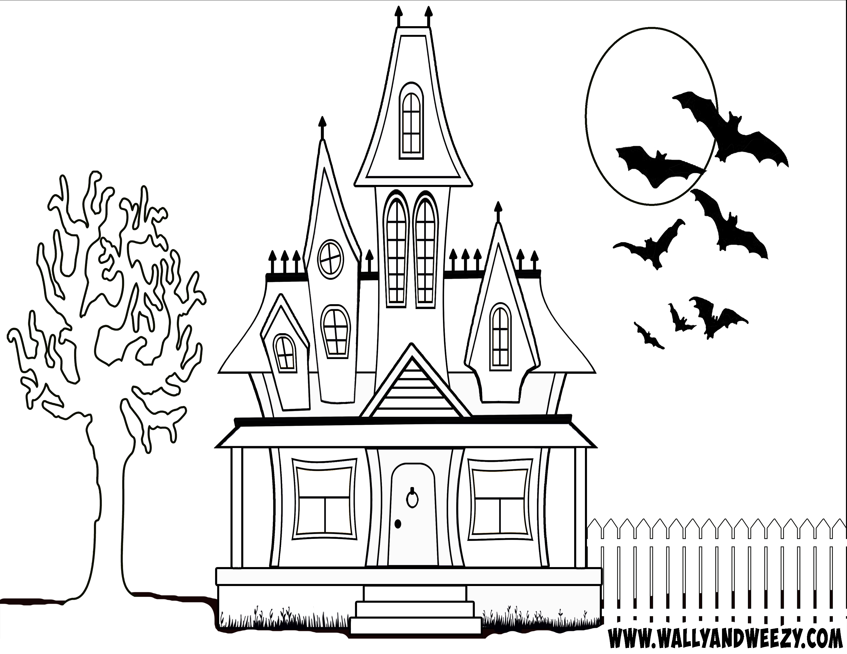 Haunted House Coloring Page Haunted House Drawing Halloween Haunted Houses House Colouring Pages