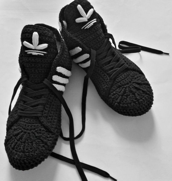 fc52958b7e96b Adidas Slippers Black Crochet Booties Cotton Sneakers | Products ...