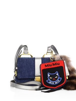 MIU MIU Denim, Metallic Leather & Fur Shoulder Bag. #miumiu #bags #fur #lining #denim #metallic #shoulder bags #suede #hand bags #