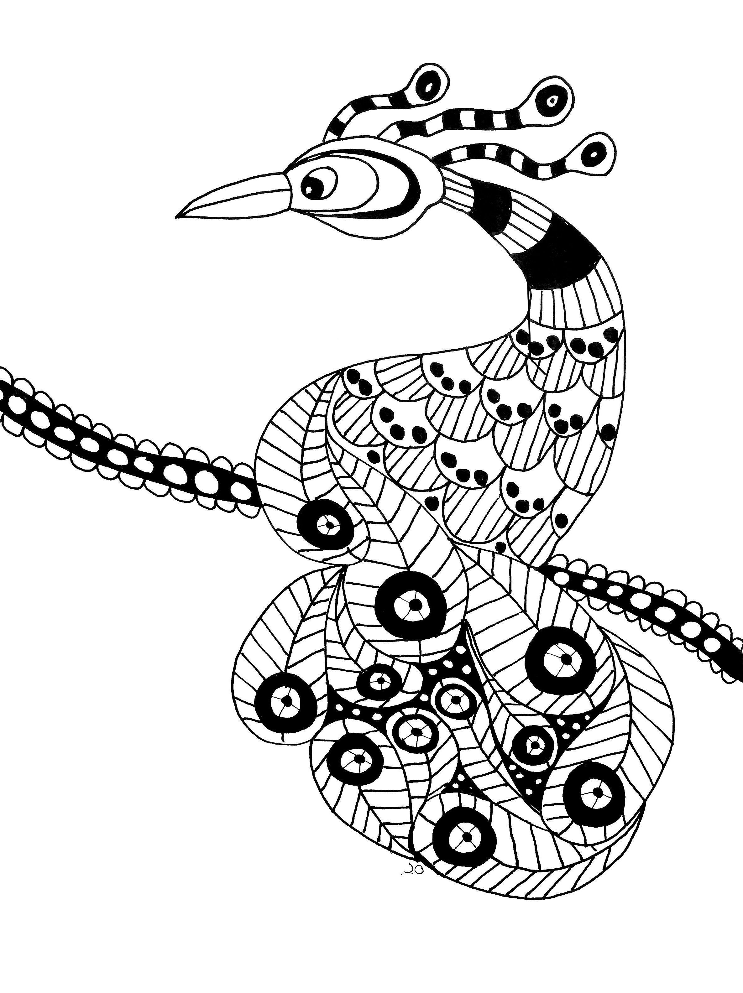 Gratis para colorear colorear-extaordinary-pájaro. El ave ...