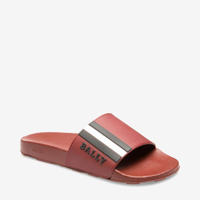 4ca21f79e08d2f  175 BALLY Slides - RED RUBBER Sandals - SOLD by AMAZON - affiliate -  Crafted from