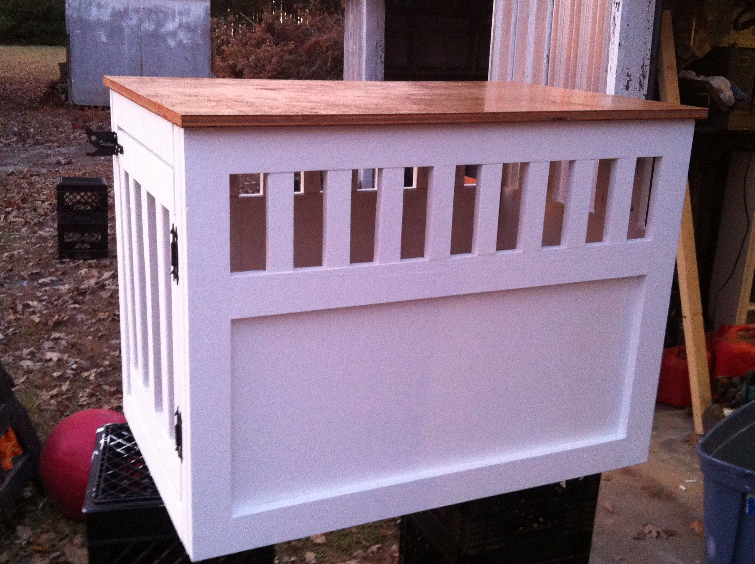 White Wooden Dog Crate Cover | Large Wooden Dog Crate End Table