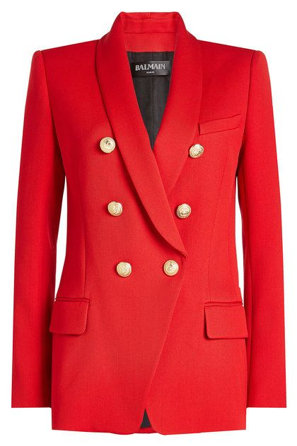 BALMAIN - Wool Blazer with Embossed Buttons | STYLEBOP