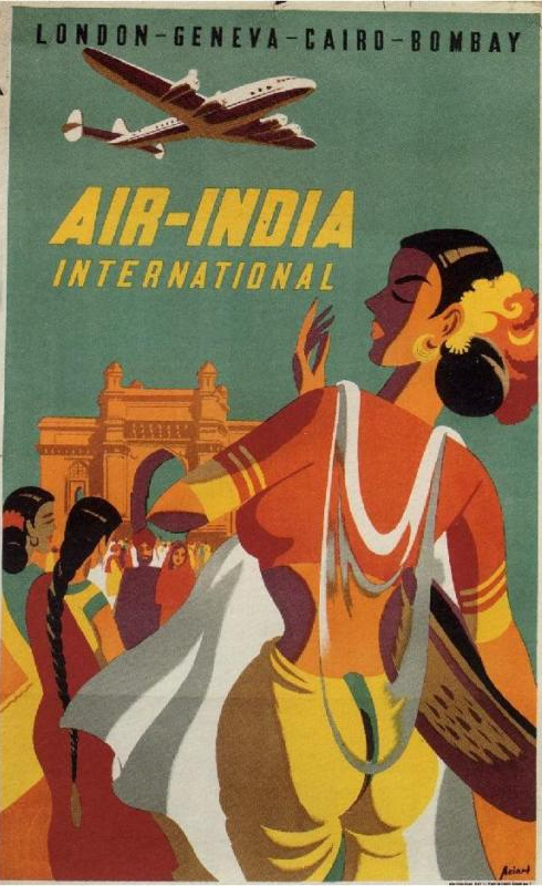 VINTAGE 1950/'S AIR INDIA TRAVEL TO INDIA A3 POSTER ART PRINT