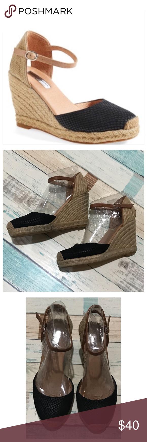 "c552b1d63c71 Halogen Sandra wedge black size 5.5 EUC! 3.5"" heel. Leather upper.  Adjustable strap with buckle closure. Halogen Shoes Espadrilles"