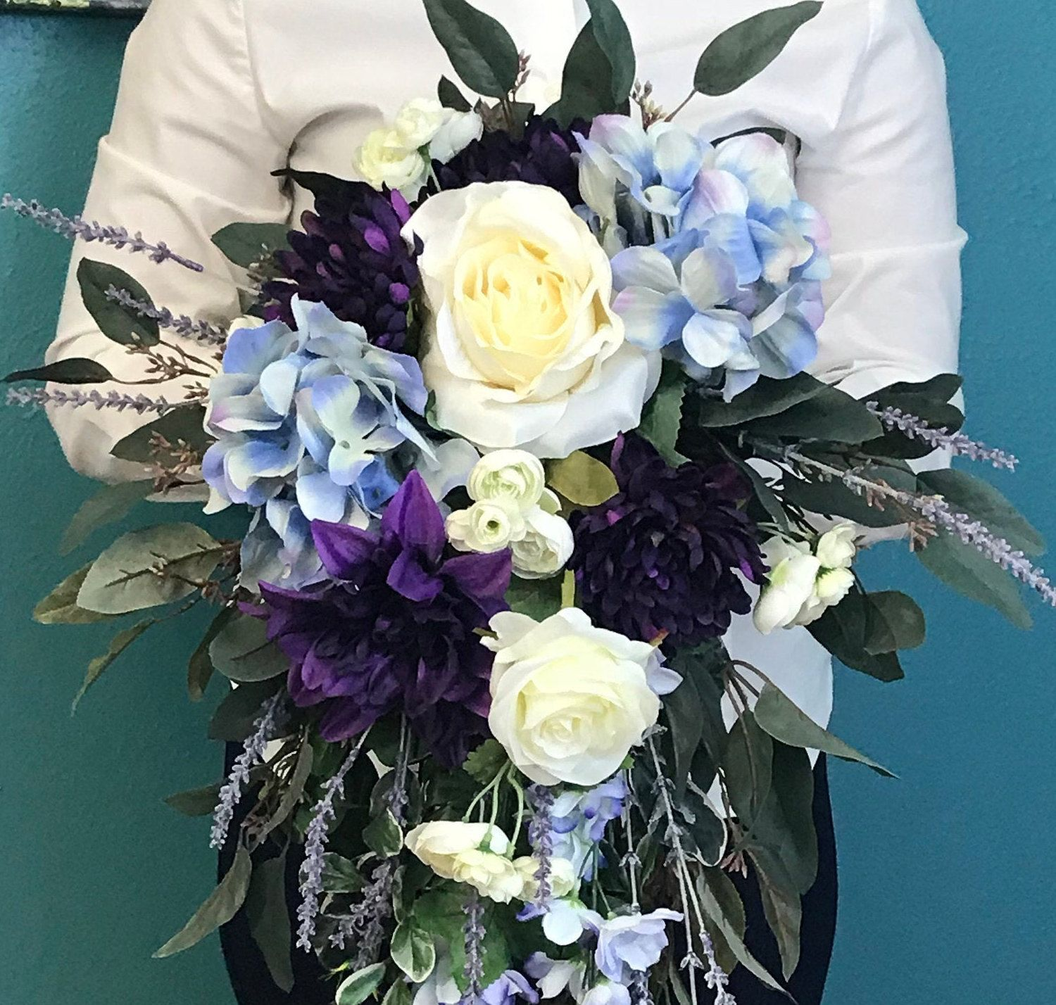 Enchanted Elegant Cascading Silk Bridal Bouquet-Large Cascading Bridal Bouquet-Purple Bridal Bouquet-Cascading Purple Flowers-Purple Wedding #bridalbouquetpurple