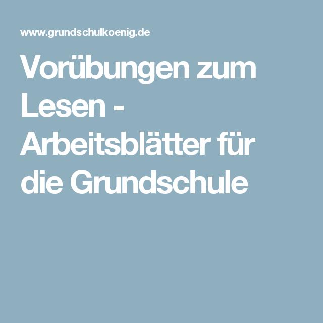 Vorübungen zum Lesen - Arbeitsblätter für die Grundschule ...