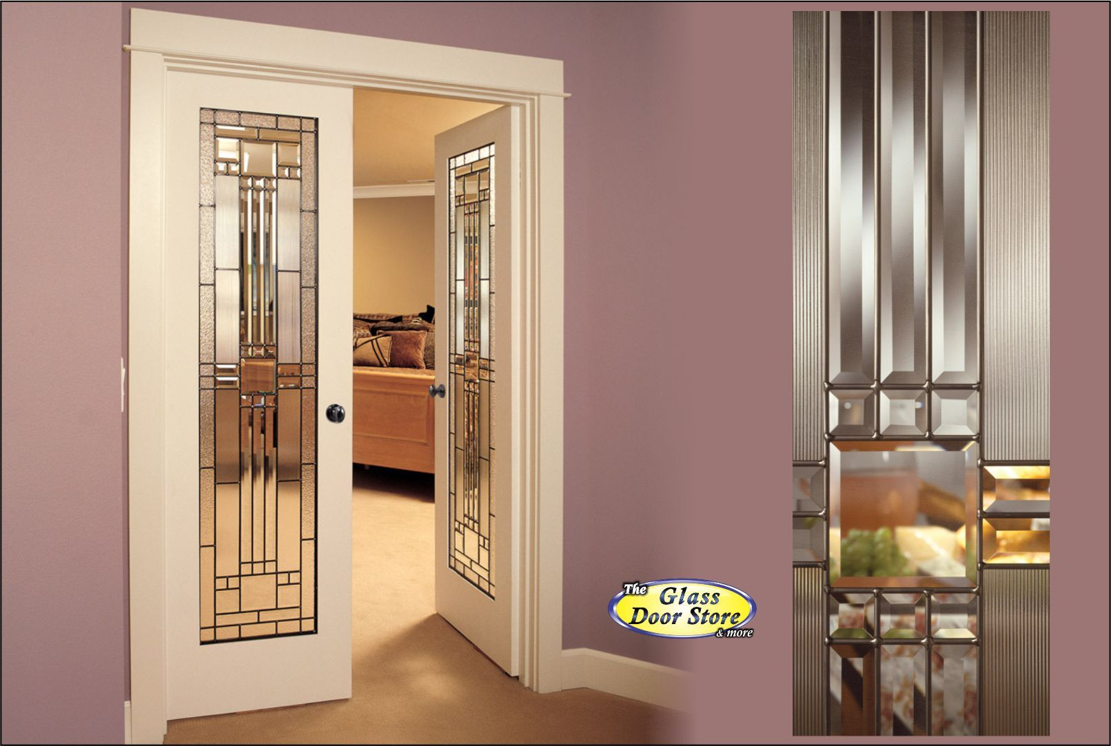Interior double doors with leaded glass inserts primed for Interior door with window