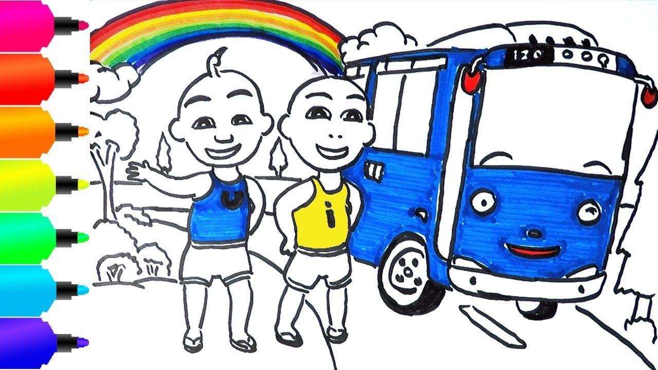 Upin Dan Ipin Naik Mobil Mainan Tayo Menggambar Dan Mewarnai Learn C Mobil Mainan Mainan Warna