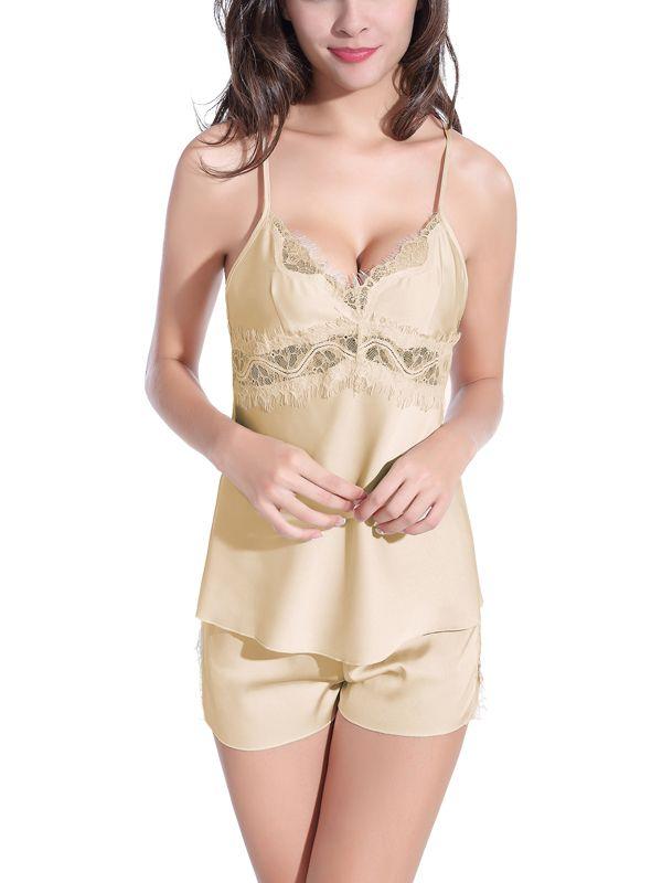 92974f8ab1 Burvogue Nightwear Lingerie Pajamas Set Lace Sleepwear Pajamas Sexy Style Silk  Pajamas Sets Sleepwear Lingerie Set for Women