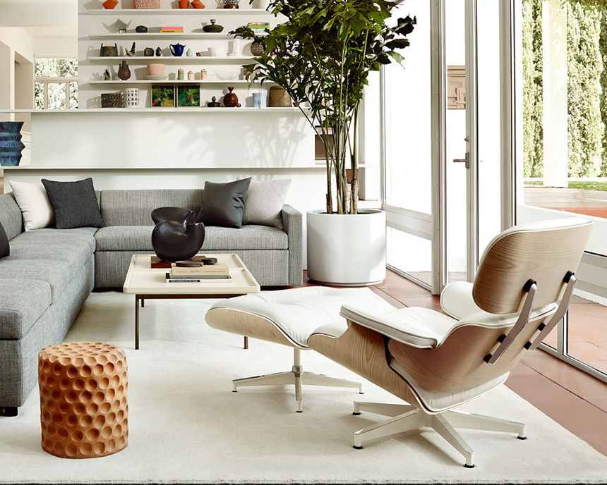 Eames Lounge And Ottoman White Ash