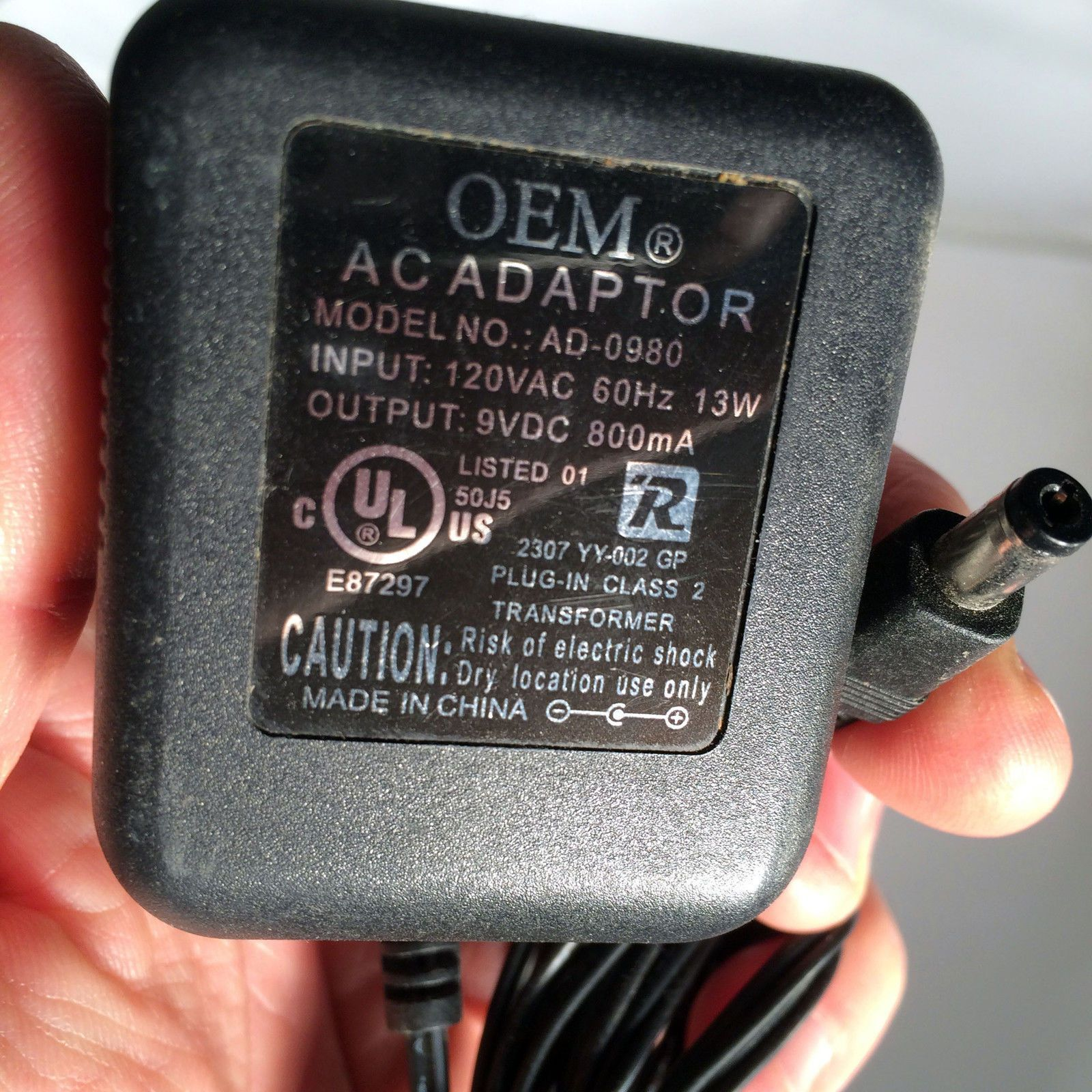 OEM AD-0980 9VDC 9V DC 800mA Power Supply AC Adapter