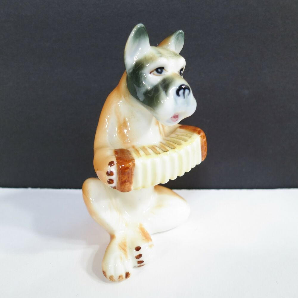 Details About Vintage Dog Playing Accordion Figurine Bone China