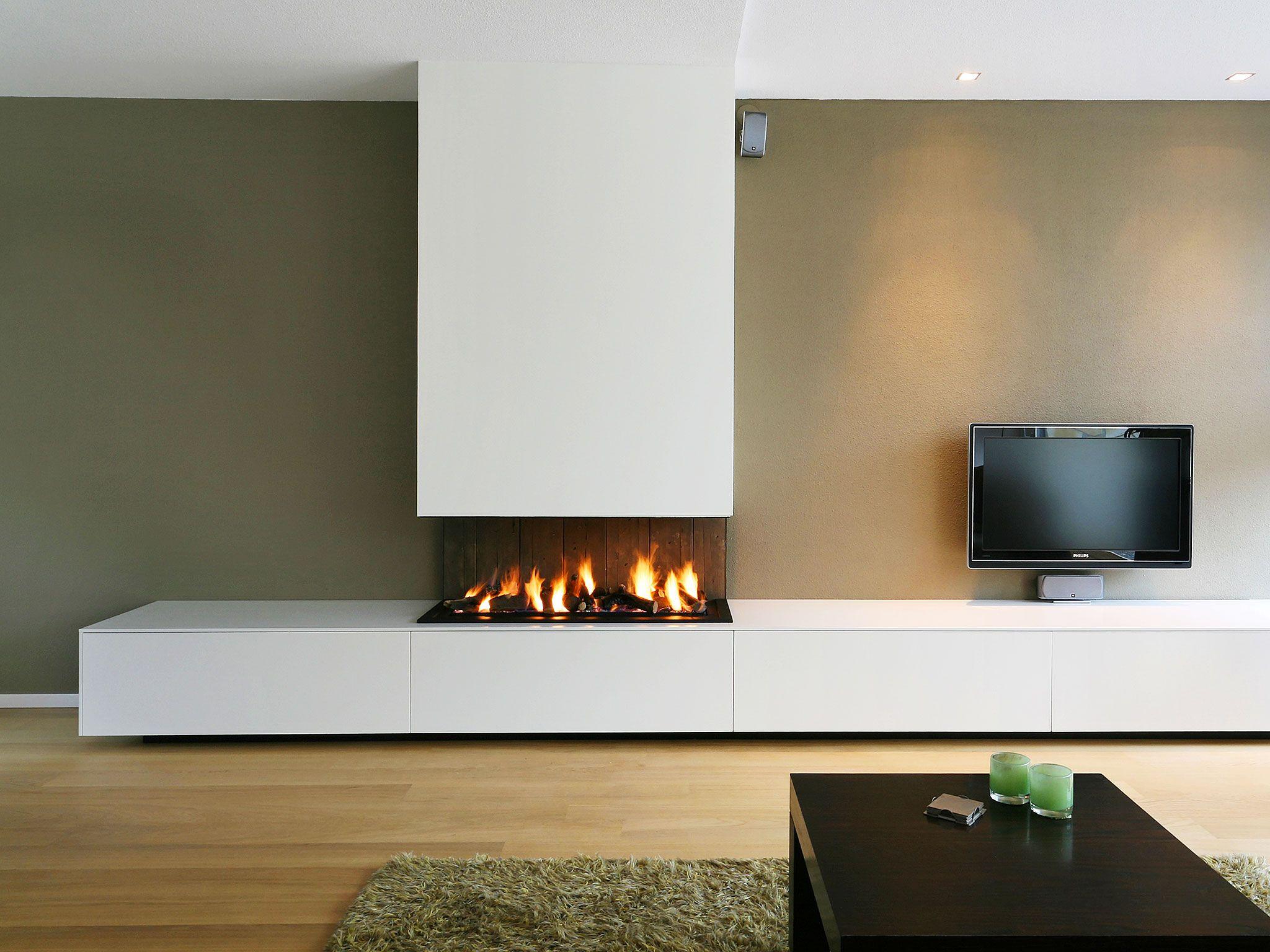 Haard Kast Muurkleur Immagini Pinterest Chemin E Mur Tv Et  # Meuble Tv Cheminee Ethanol