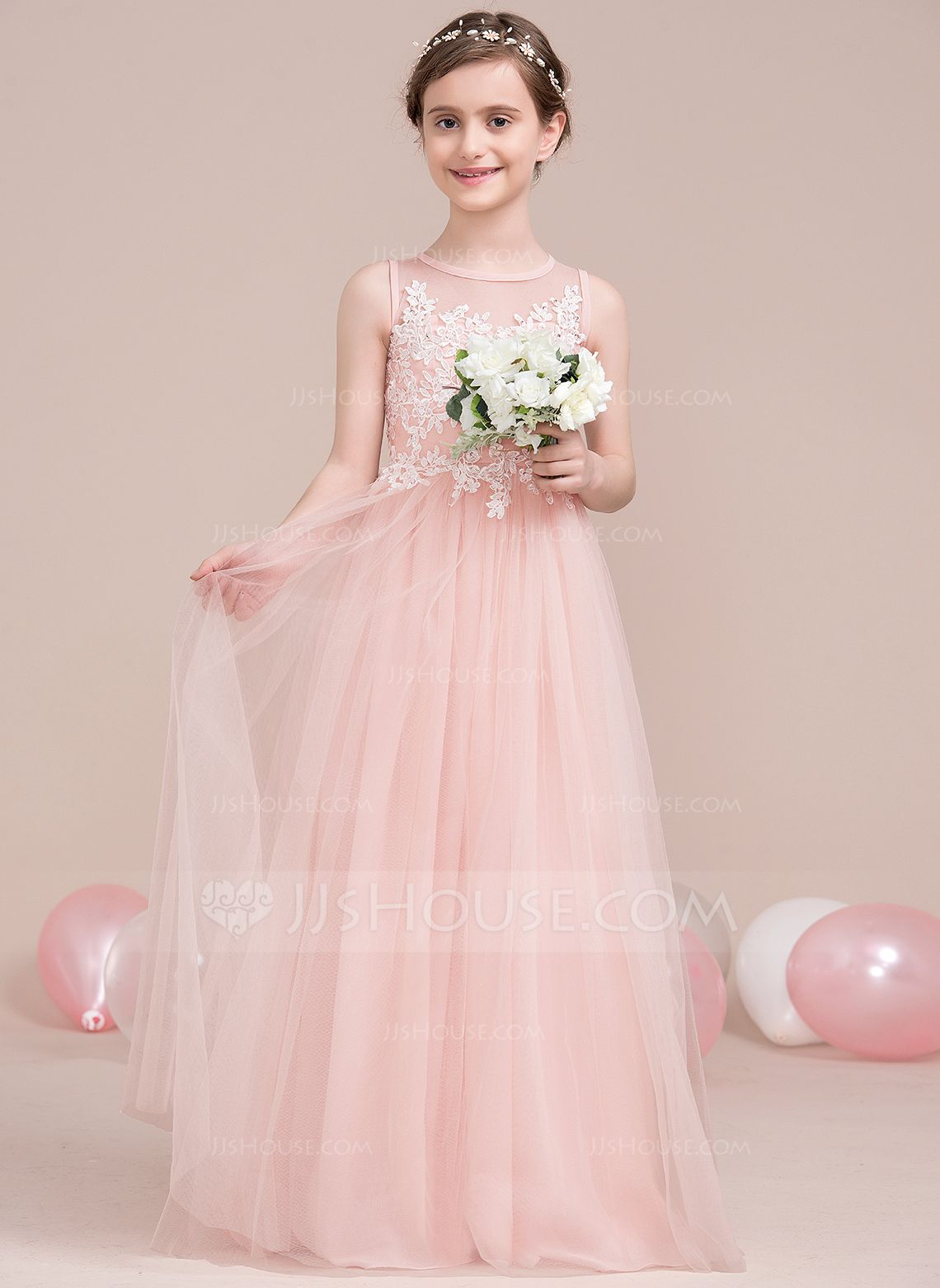 A-Line/Princess Scoop Neck Floor-Length Beading Sequins Zipper Up ...