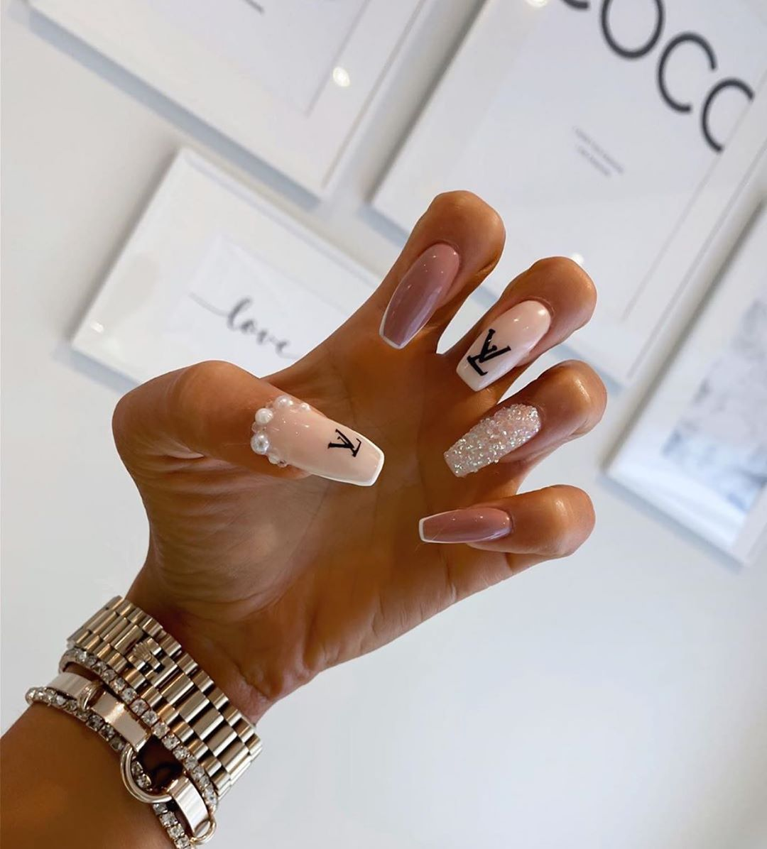 Shared By Queen Svetlan Luar Find Images And Videos About Girl Nails And Luxury On We Heart It The A In 2020 Bling Acrylic Nails Nail Designs Louis Vuitton Nails