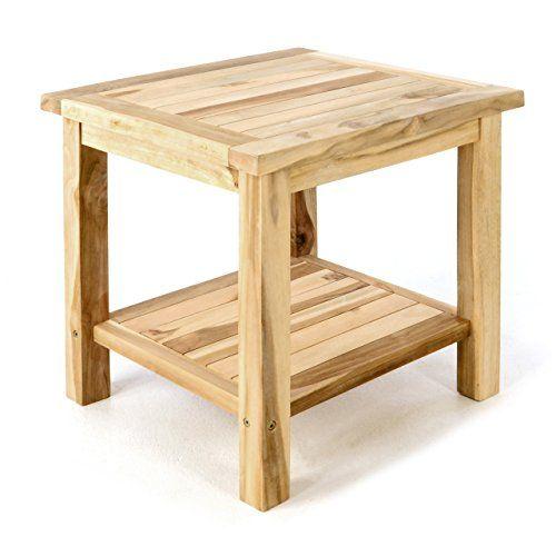 Divero Beistelltisch aus massiven Natur Teak-Holz Natur für Balkon