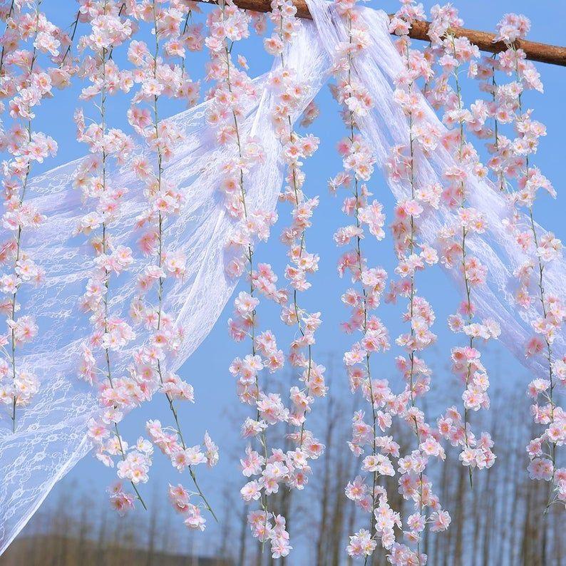 Artificial Cherry Blossom Garland For A Wedding Arch Or Arbor Etsy In 2021 Cherry Blossom Wedding Theme Cherry Blossom Decor Cherry Blossom Theme