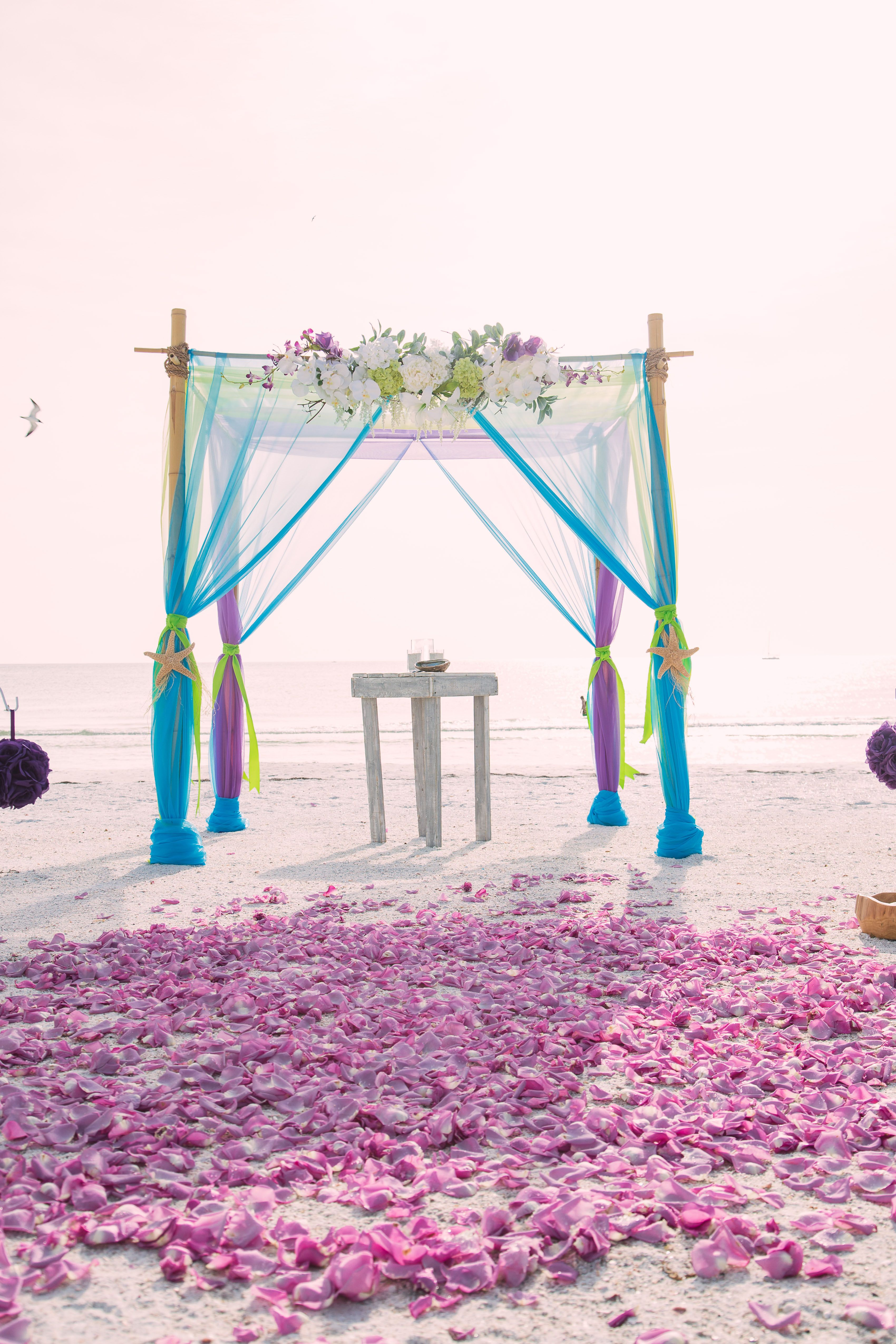 Turquoise Lime And Purple Beach Wedding Beach Wedding Purple